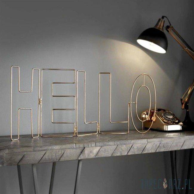 Dekoracja - Napis Hello w odcieniu różowego złota 104029