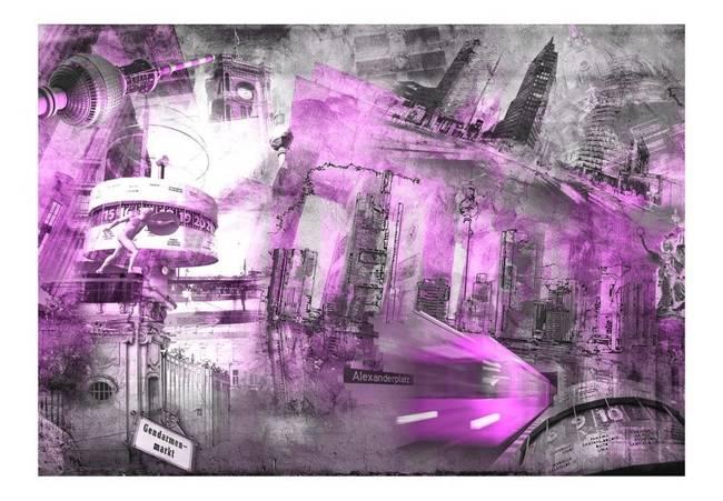 Fototapeta - Berlin - kolaż (fioletowy)