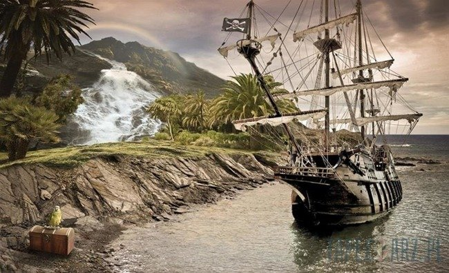 Fototapeta Bezludna wyspa i statek piracki 2050