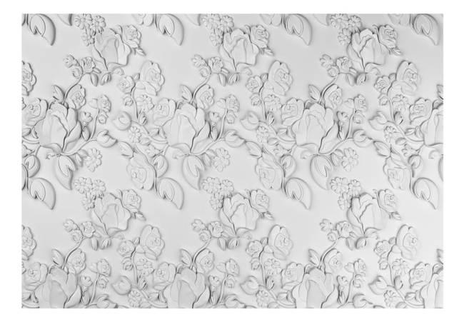 Fototapeta - Biały ornament: róże