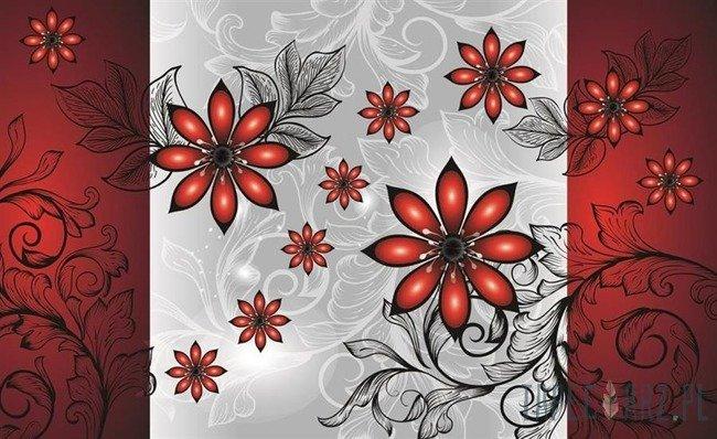 Fototapeta Czerwone kwiatki 1211