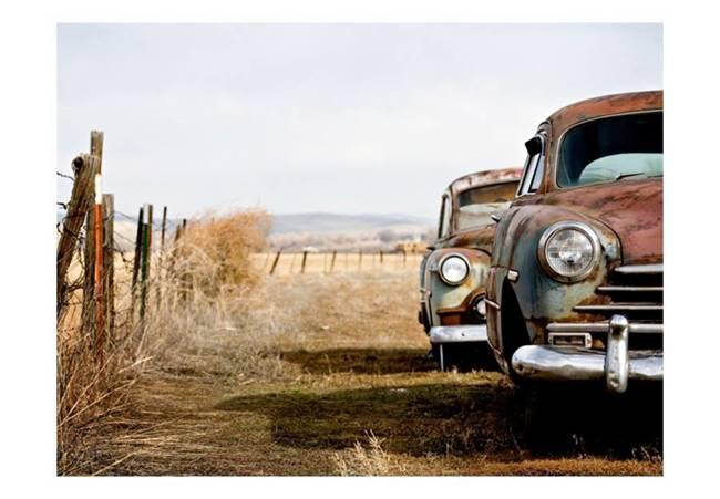 Fototapeta - Dwa stare amerykańskie wozy
