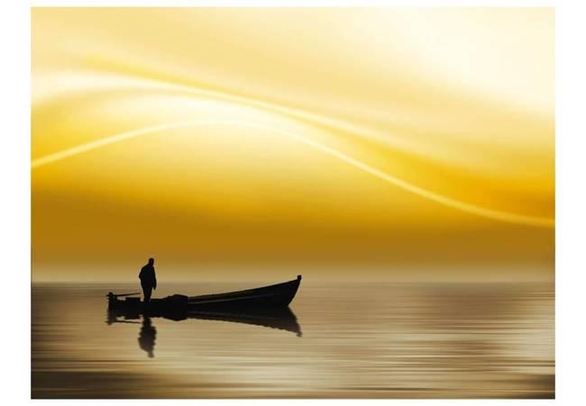 Fototapeta - Fishing at sunset