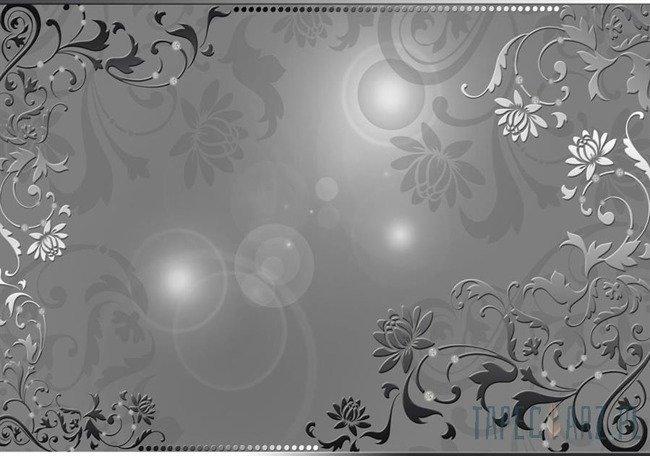 Fototapeta Kwiatowy ornament na szarym tle 2661