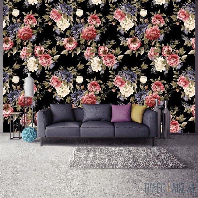 Fototapeta Kwiaty na czarnym tle 3614