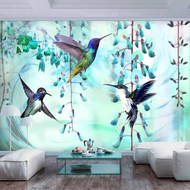 Fototapeta - Latające kolibry (zielony)