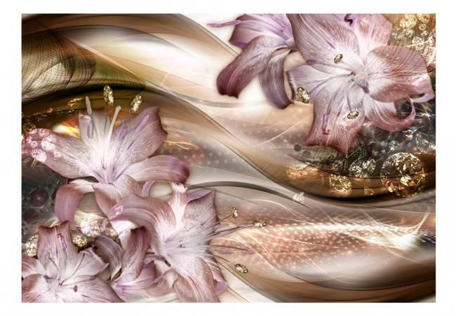 Fototapeta - Lilie na fali (brązowy)