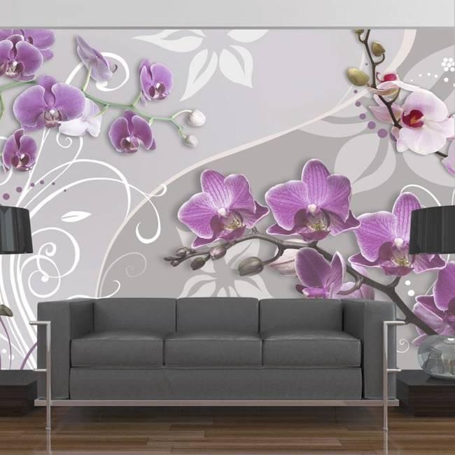 Fototapeta - Lot purpurowych orchidei