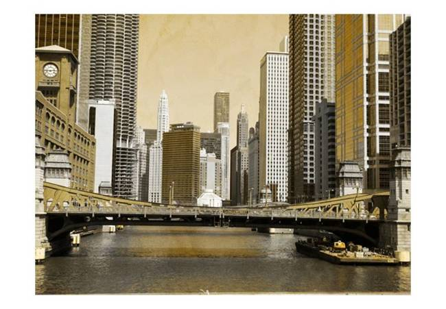Fototapeta - Most w Chicago (efekt vintage)