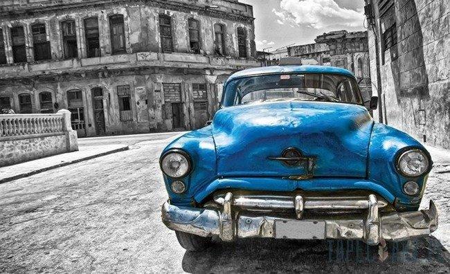 Fototapeta Niebieski samochód - vintage 1178