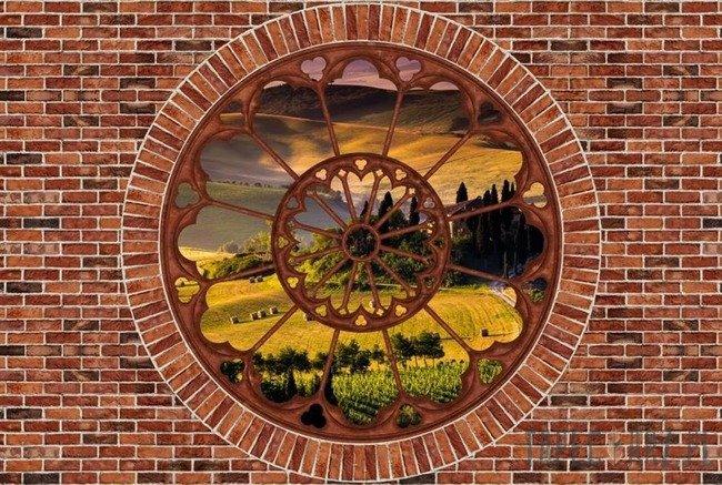 Fototapeta Toskania - czerwona cegła okno 2181
