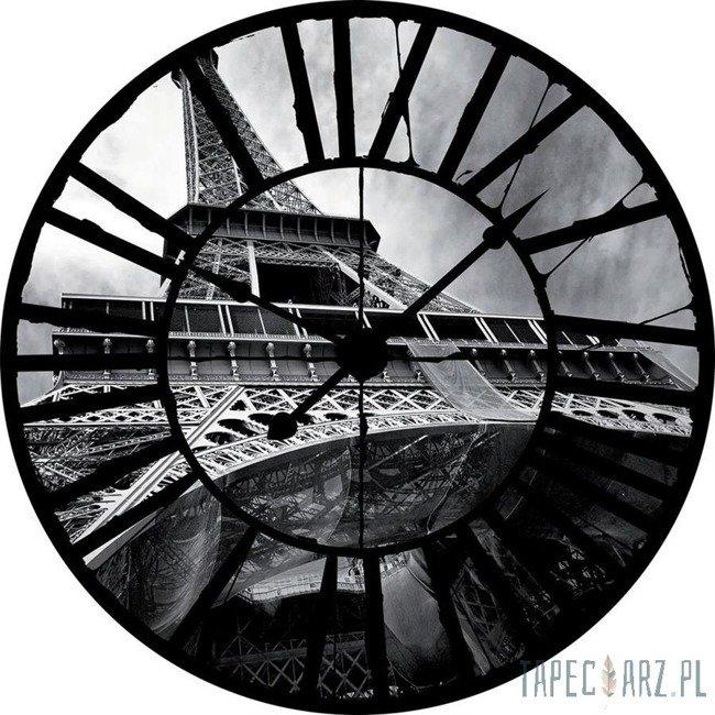 Fototapeta Widok przez zegar na czarno-białą Wieżę Eiffla 10215