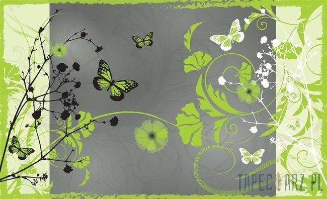 Fototapeta Zielone motyle i kwiaty 887
