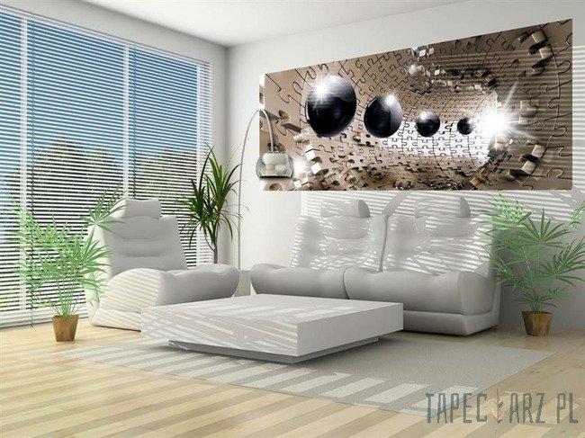 Fototapeta na flizelinie Czarne kule w tunelu z puzzli 3D 3258VEP