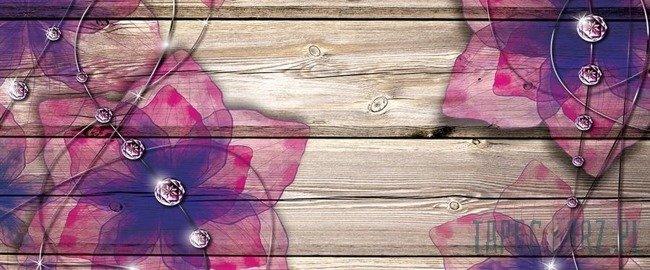 Fototapeta na flizelinie Kwiaty na deskach 3554VEP