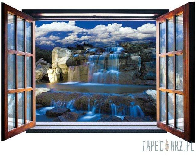 Fototapeta na flizelinie Niebieski wodospad przez otwarte okno 2064