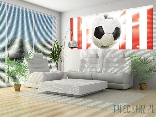 Fototapeta na flizelinie Piłka nożna na biało-czerwonym tle 473VEP