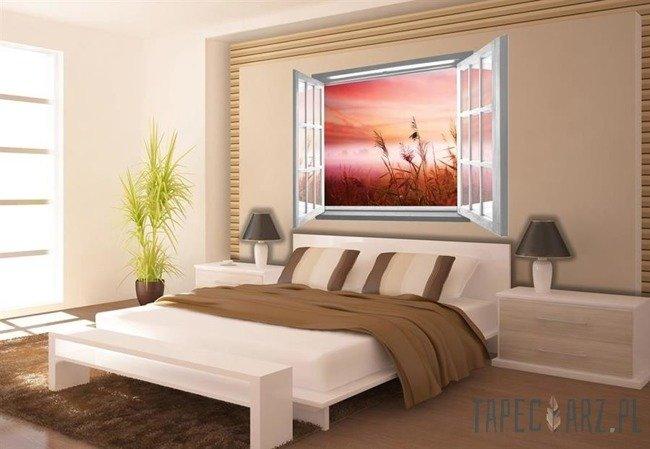 Fototapeta na flizelinie Poranek na łące przez otwarte białe okno 2075