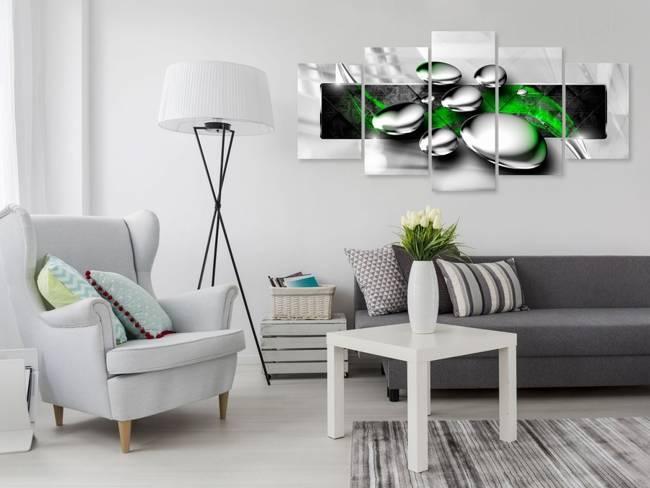Obraz - Błyszczące kamienie (5-częściowy) szeroki zielony