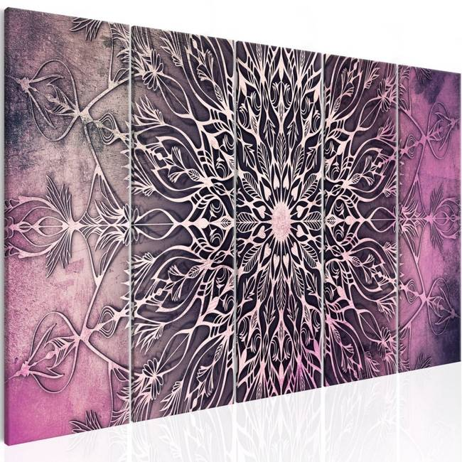 Obraz - Centrum (5-częściowy) wąski różowy