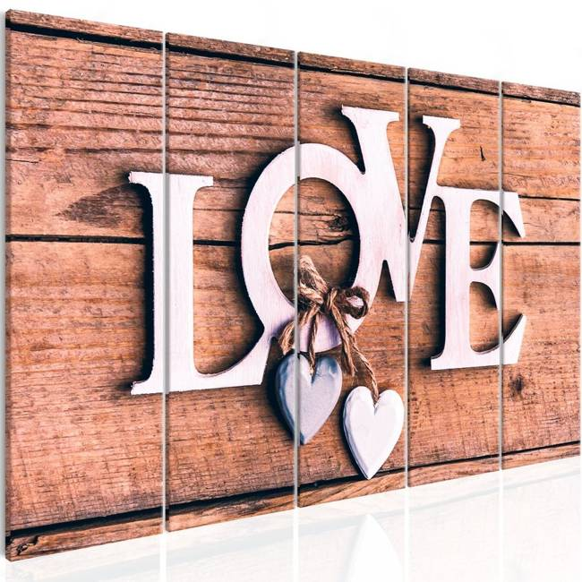 Obraz - Drewniane literki (5-częściowy) wąski