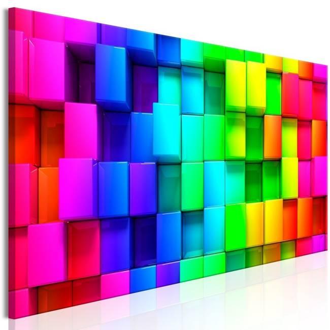 Obraz - Kolorowe sześciany (5-częściowy) wąski