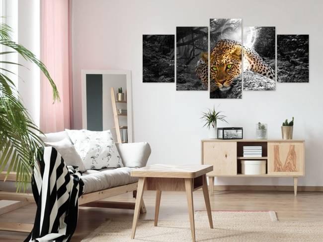 Obraz - Leżący lampart (5-częsciowy) szeroki szary
