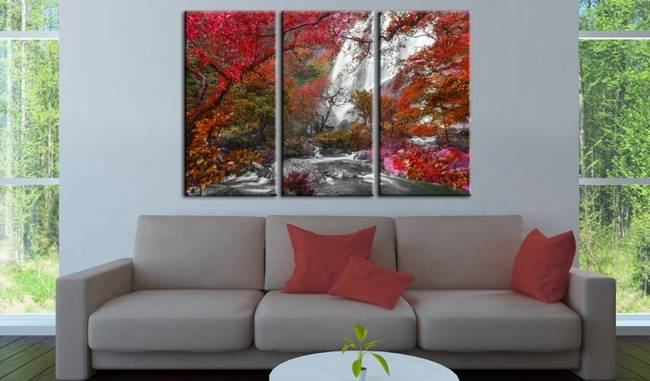 Obraz - Piękny Wodospad: Jesienny las