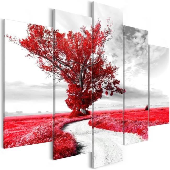 Obraz - Samotne Drzewo (5-częsciowy) czerwony