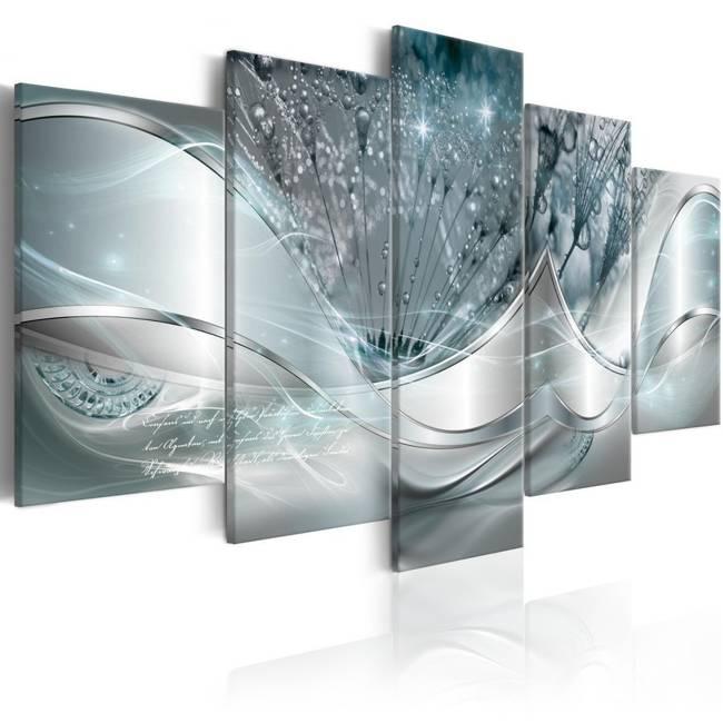 Obraz - Świecące dmuchawce (5-częściowy) niebieski szeroki