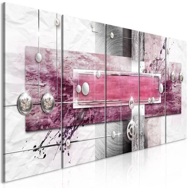 Obraz - Tajemniczy mechanizm (5-częściowy) wąski różowy