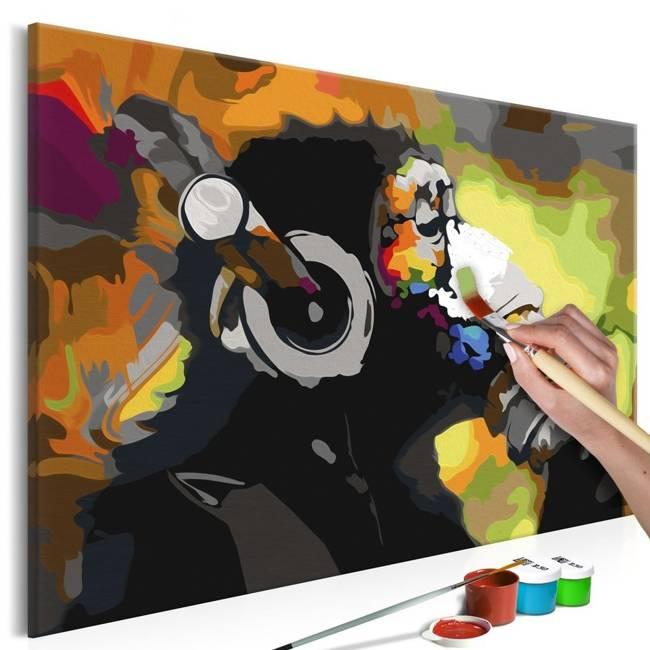 Obraz do samodzielnego malowania - Kolorowa małpa w słuchawkach