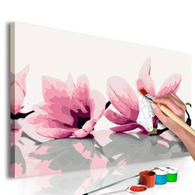 Obraz do samodzielnego malowania - Magnolia (białe tło)