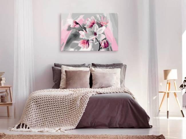 Obraz do samodzielnego malowania - Magnolia (szare tło)