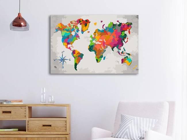 Obraz do samodzielnego malowania - Mapa świata (z różą wiatrów)