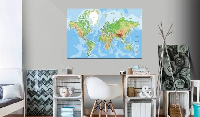 Obraz na korku - Geografia świata [Mapa korkowa]