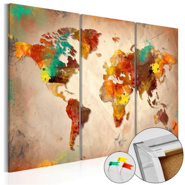 Obraz na korku - Malowany świat [Mapa korkowa]