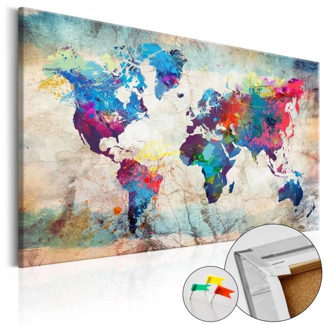 Obraz na korku - Mapa świata: Kolorowe szaleństwo [Mapa korkowa]