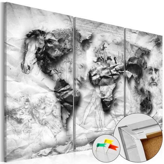 Obraz na korku - Projekt świata [Mapa korkowa]