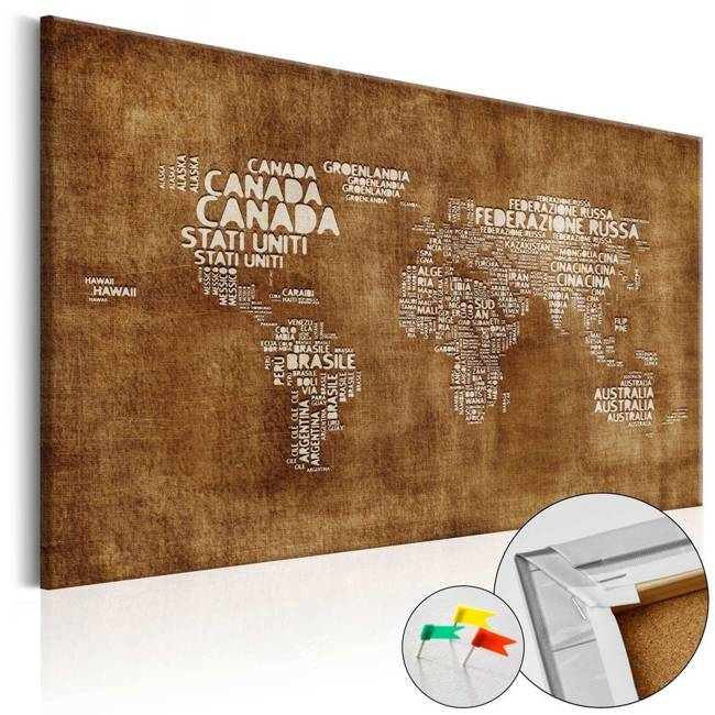 Obraz na korku - Zaginiona mapa [Mapa korkowa IT]