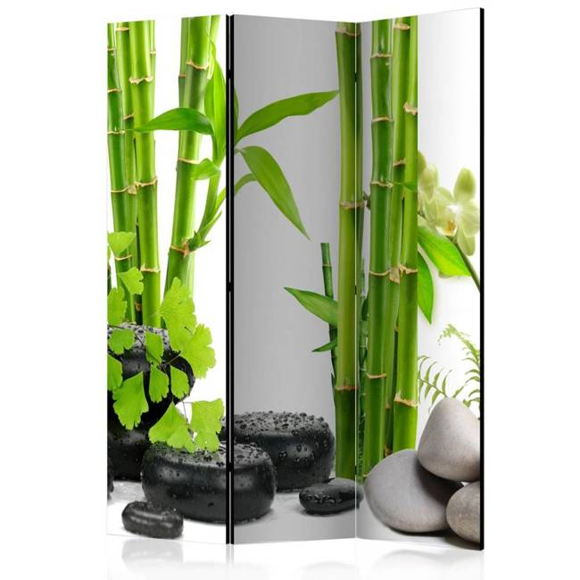Parawan 3-częściowy - Bambusy i kamienie [Room Dividers]