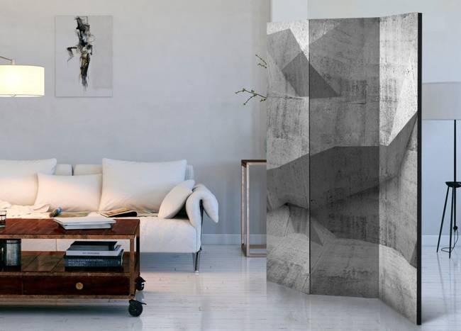 Parawan 3-częściowy - Betonowa geometria [Room Dividers]