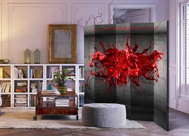 Parawan 5-częściowy - Czerwony kleks II [Room Dividers]