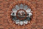 Fototapeta Czarno-biały Brooklyn Bridge - czerwona cegła okno 2178