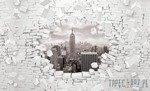 Fototapeta Czarno-biały Nowy Jork wychodzący ze ściany 3d 2721