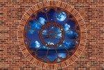 Fototapeta Gwieździsta noc - czerwona cegła okno 2183