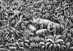 Fototapeta Płaskorzeźba rodziny słoni w odcieniu szarości 3528