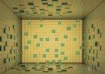 Fototapeta Pokój z żółto-zielonych sześcianów 3D 2581
