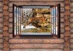 Fototapeta Tygrys na drewnianej ścianie 2217