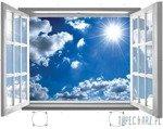 Fototapeta na flizelinie Błękitne niebo przez otwarte białe okno 2073